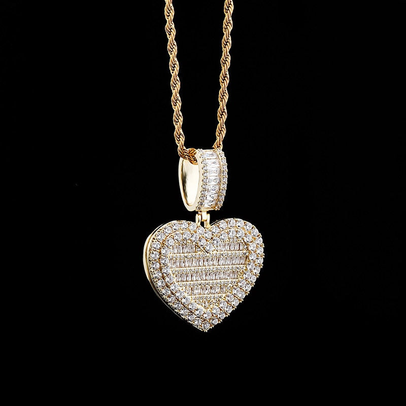 Ice Out Heart Shape Photo Frame Memory Medallions Pendant Necklaces - outoff