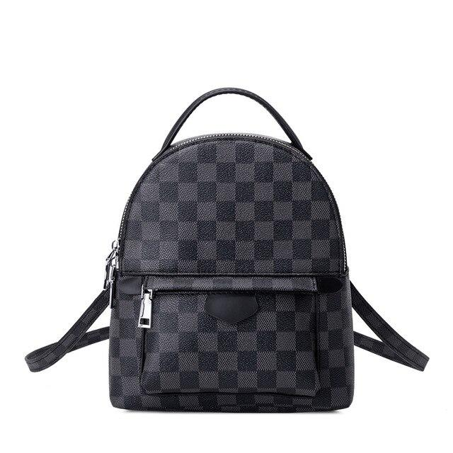 fashion Black grid plaid Leather backpack Female Personality Small School Bag leisure business backpack with laptop Women's bag - outoff