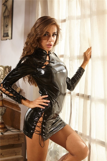 Sexy Faux Leather Erotic Club Mini Dress - outoff
