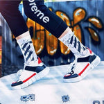 Fashion Men  White Cotton Socks Women Streetwear Crew Socks Hip Hop Letter Calabasas Socks Letter Skateboard Sock - outoff