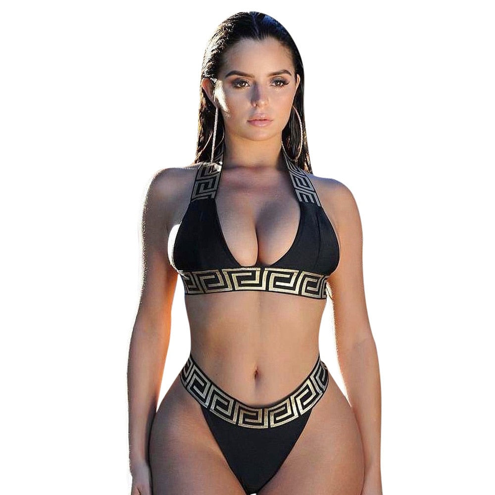 2020 Sexy Bikini Suits Thong Bathing Suits Solid Color Swimwear Big Breast Two Piece Thong Black Size Blue Push Up Biquini Swim - outoff