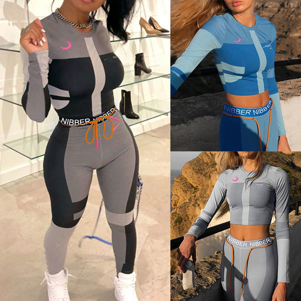 Sexy Tracksuits Women Two Piece  Set Outfits Sports Fitness High Waist Leggings Winter Spring Matching Sets Sweatsuit - outoff