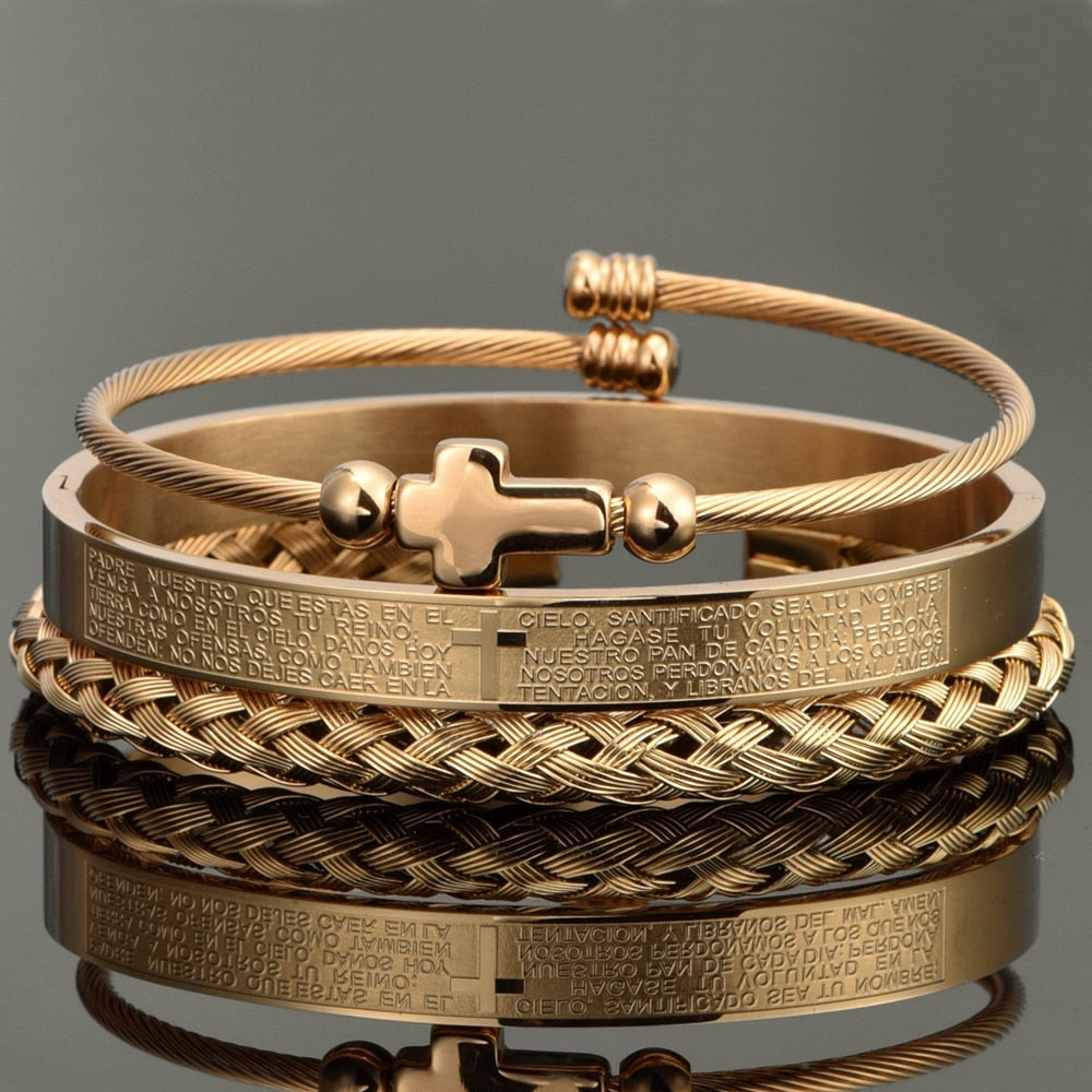 Luxury Set Stainless Steel Bracelet Gold - outoff