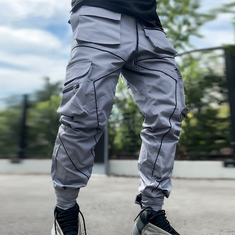 Outoff Multi-Pocket Reflective Striped Cargo Jogger Pants - outoff
