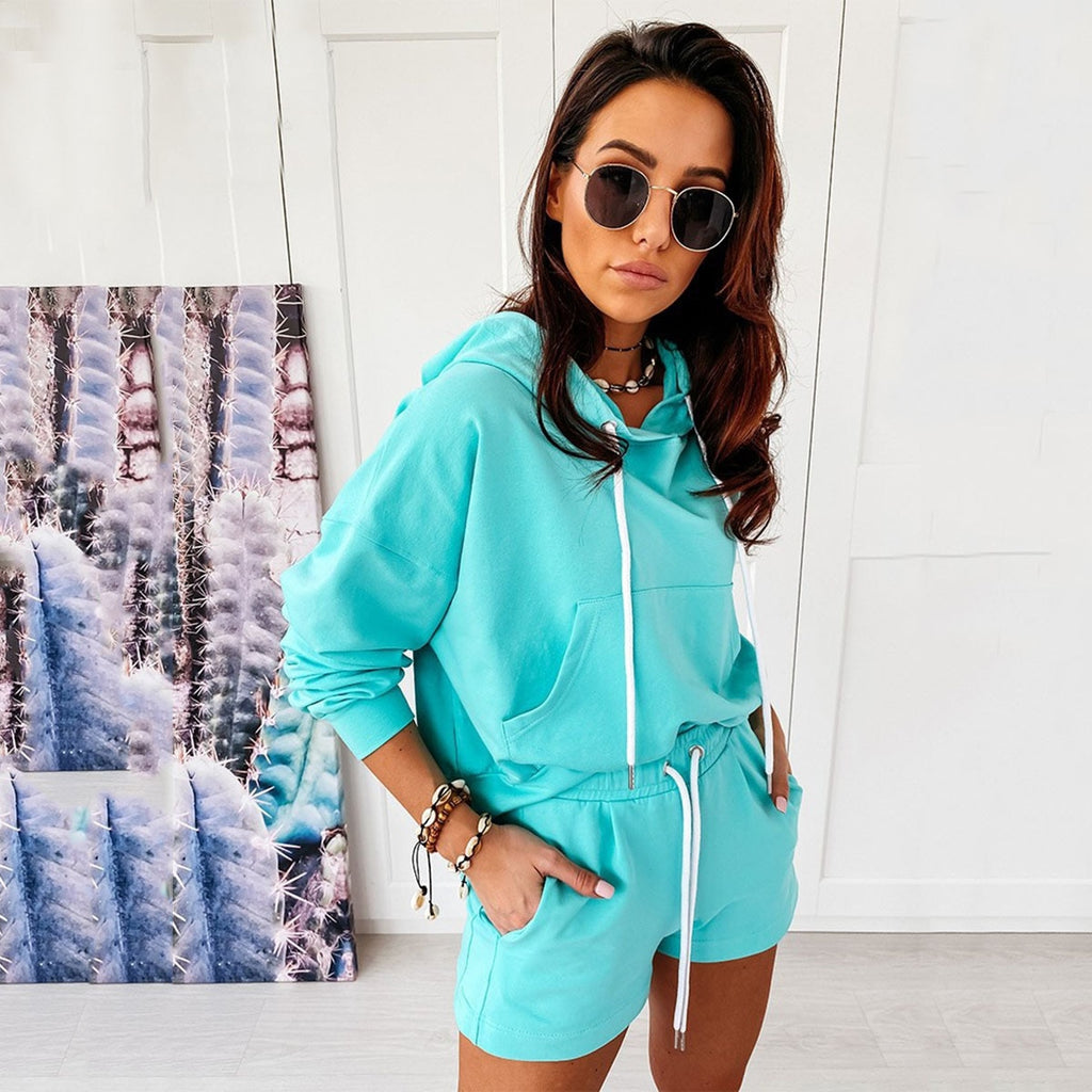 Women Tracksuits Solid Long Sleeve Hoodies Sweatshirt+Lace-up Shorts Sportswear - outoff