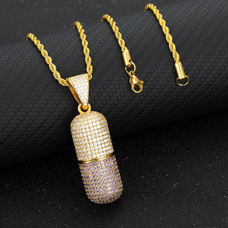 Ice out Capsule Pill Pendant Necklaces - outoff