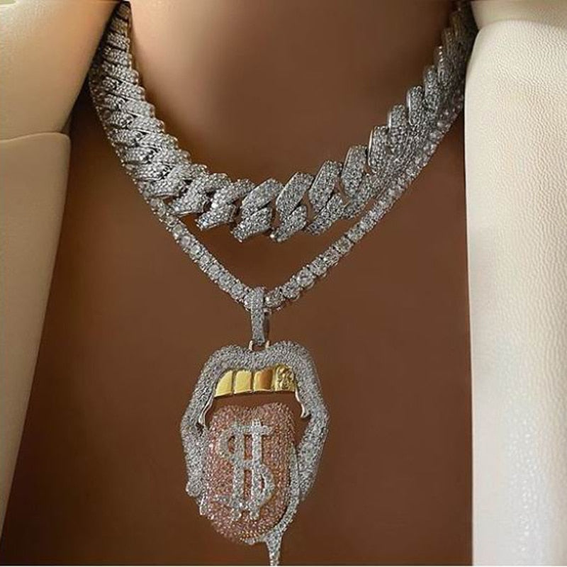 Iced Out Bling 5A CZ Sexy Mouth Pendant Necklace Dollar Symbol Jewelry - outoff