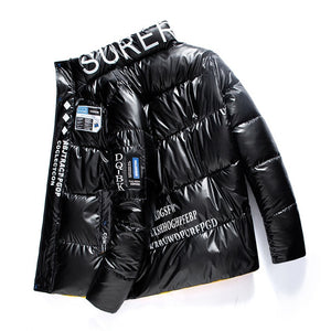 Men's Hoodie High Street Winter Reflective Waterproof Clothing Shiny Puffer Jacket - outoff