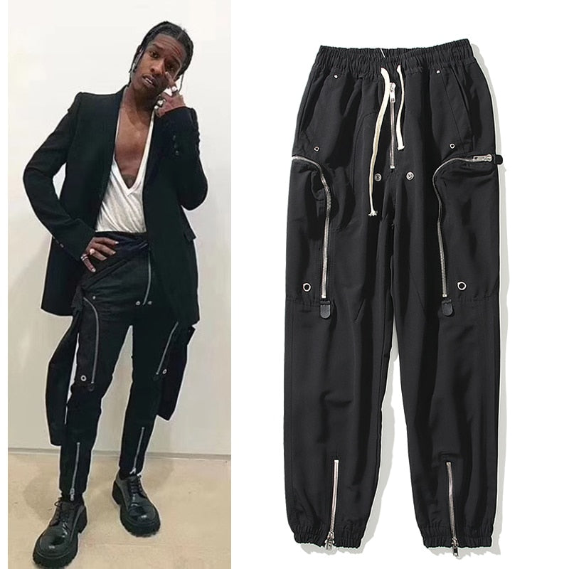 High Street Zipper Multi-pockets Black Jogger Pant - outoff
