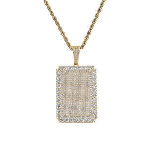 Iced Out Geometric Square Pendants Necklaces - outoff