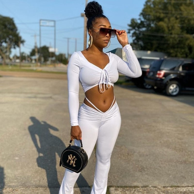 White 2 Piece Pants Sets Women Outfits Fall Solid Drawstring Crop Top and Leggings Set Sexy Club Outfits for Women Matching Sets - outoff