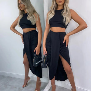 NewAsia Summer Women Crop Top Long Skirts Two Piece Set White Party Club Wear Sexy Split Skirts Sets Casual Clothing 2020 New - outoff
