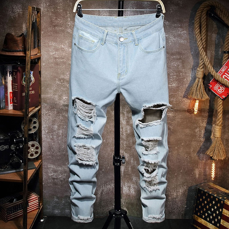 Fashion Man's Ripped Jeans Broken Hole Pants Torn Men's Straight Denim Pants Vintage Washed Trousers Streetwear - outoff