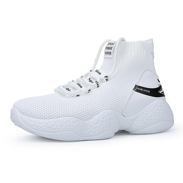 Breathable Male Sports Sneakers -BLACK - outoff