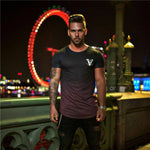 OutOff Fashion Gradient Color Streetwear Mens T-Shirts Pink - outoff