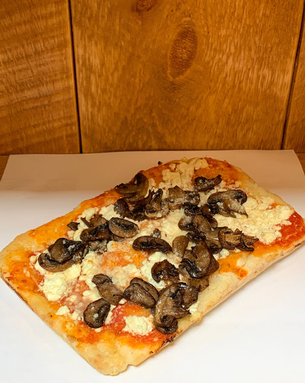 Gluten-Free Mushroom and Feta Cheese Pizza Slice