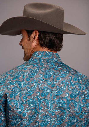Stetson Men's Silver Springs Paisley Snap Shirt Blue