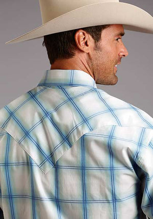 Stetson Men's Light Blue Plaid Snap Shirt