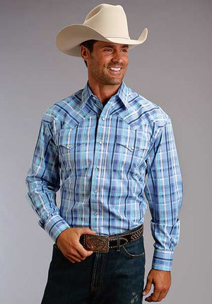 Stetson Men's Blue Plaid Snap Shirt