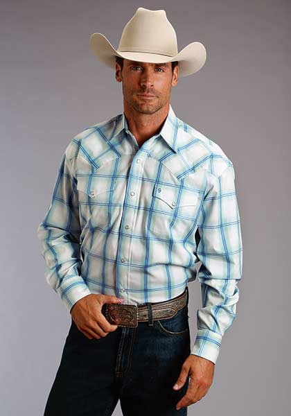 70005c768f2a5 Stetson Men s Light Blue Plaid Snap Shirt - Gavel Western Wear