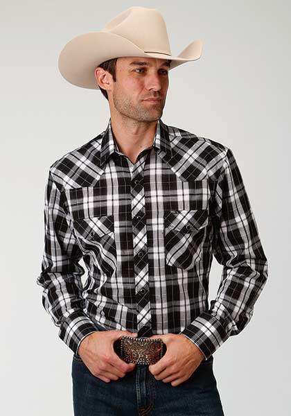 Roper Men's Black/White Plaid Snap Shirt