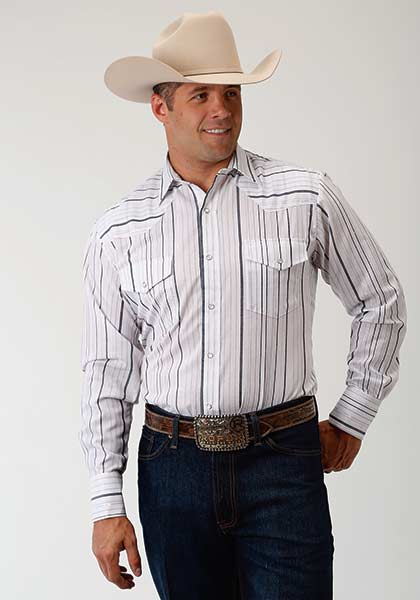 Roper Men's Grey/White Stripe Snap Shirt