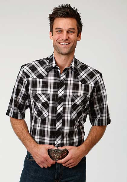 Roper Men's Black/White Plaid Short Sleeve Snap Shirt