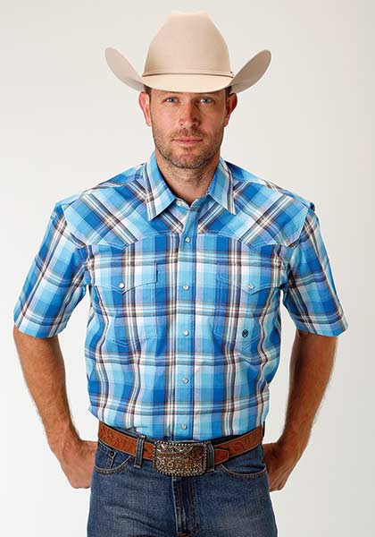 Roper Men's S/S Light Blue Plaid Snap Shirt