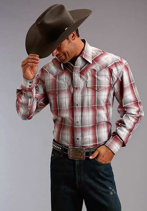 Stetson Men's L/S Red Plaid Snap Shirt