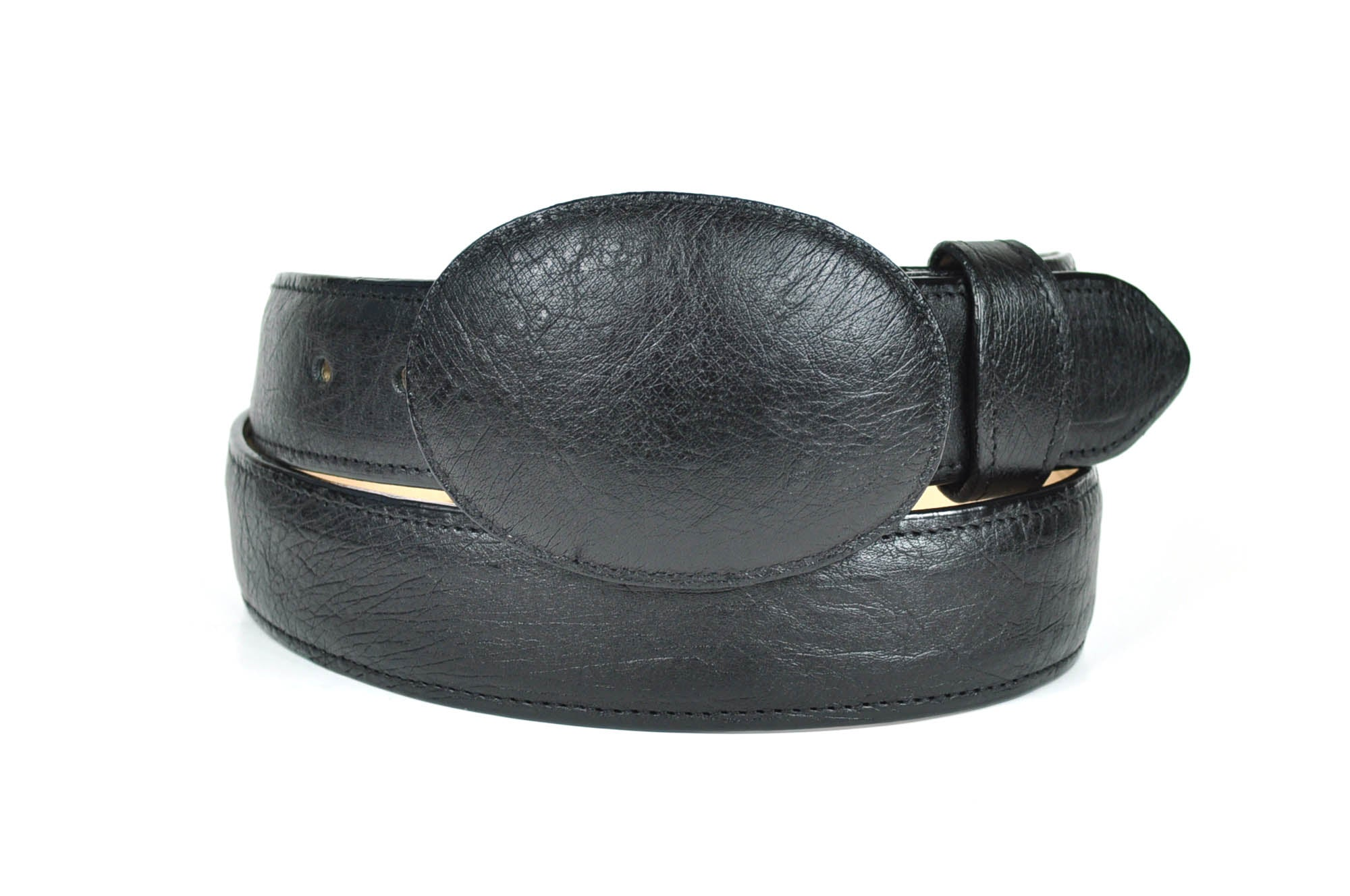 Gavel Smooth Ostrich Western Belt -Black