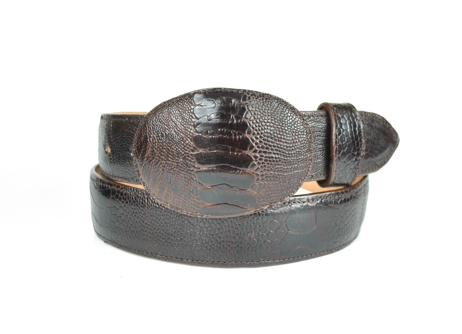 Gavel Ostrich Leg Western Belt -Brown