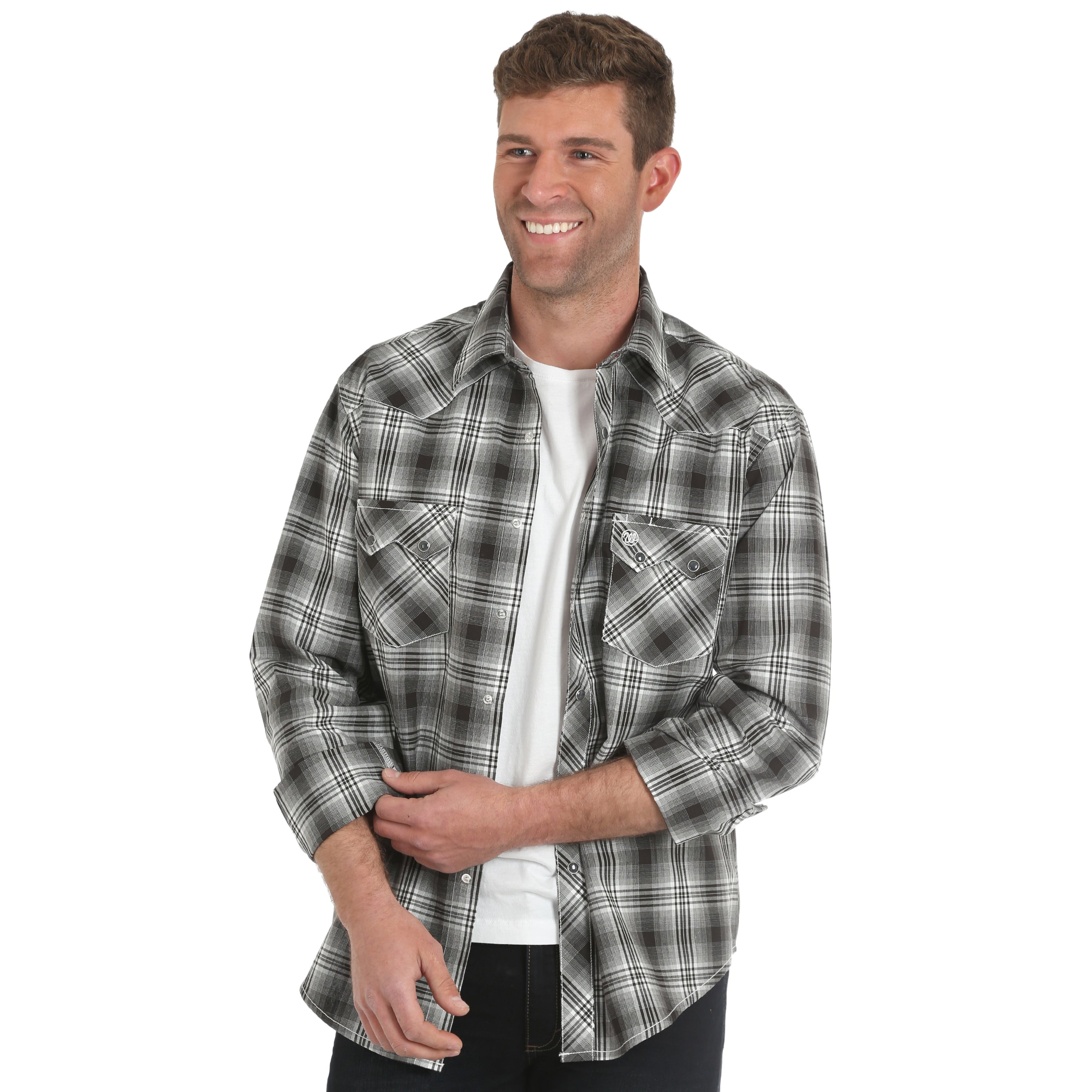 0df6016d Wrangler Men's Retro Long Sleeve Black Plaid Snap Shirt - Gavel ...