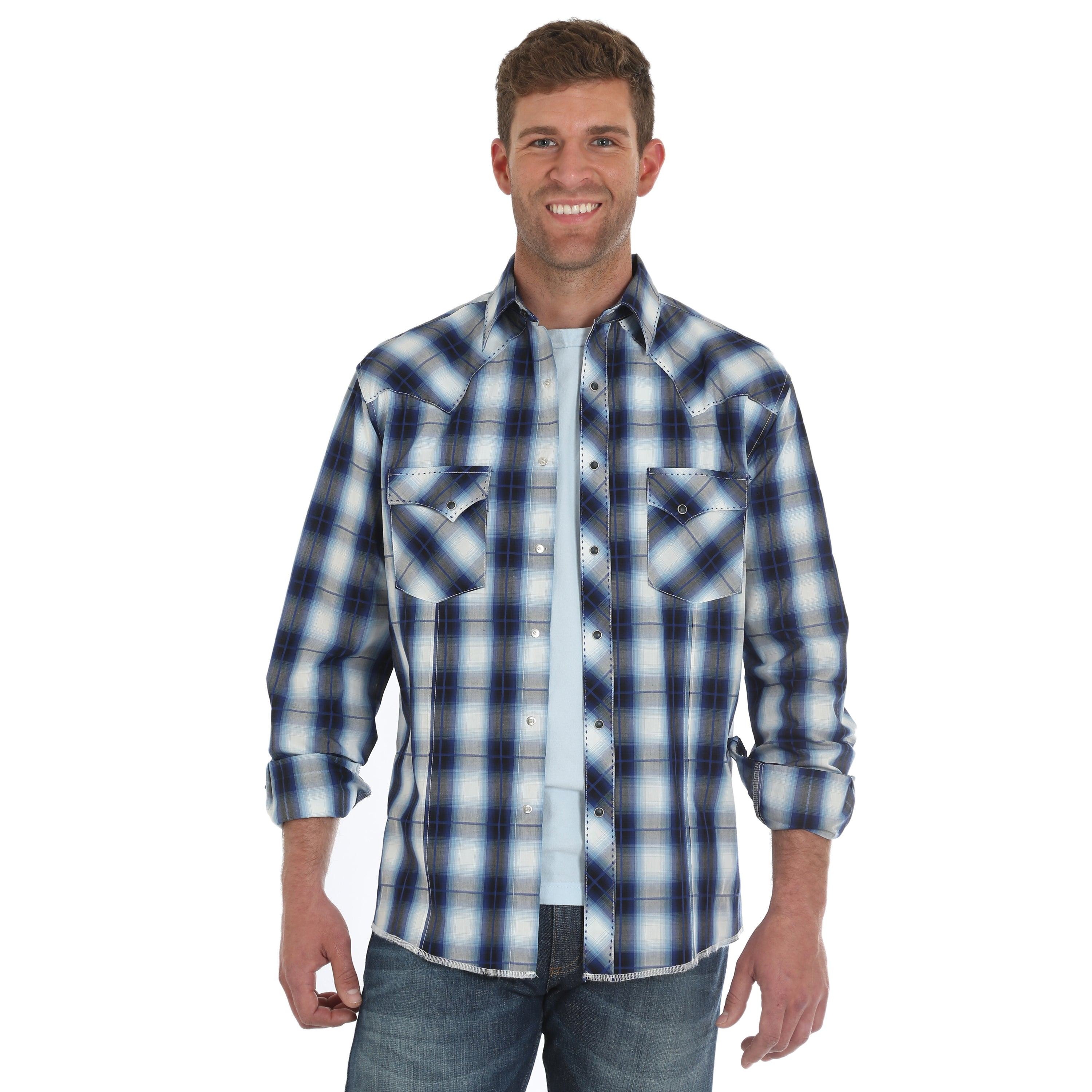 eb4eeb35 +Other Categories. Wrangler Men's Shirts · Wrangler Men's Fashion Snap Long  Sleeve Blue ...