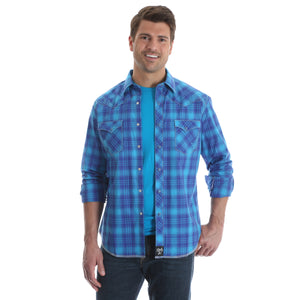 Rock 47 by Wrangler Men's Long Sleeve Electric Blue Western Plaid Snap Shirt