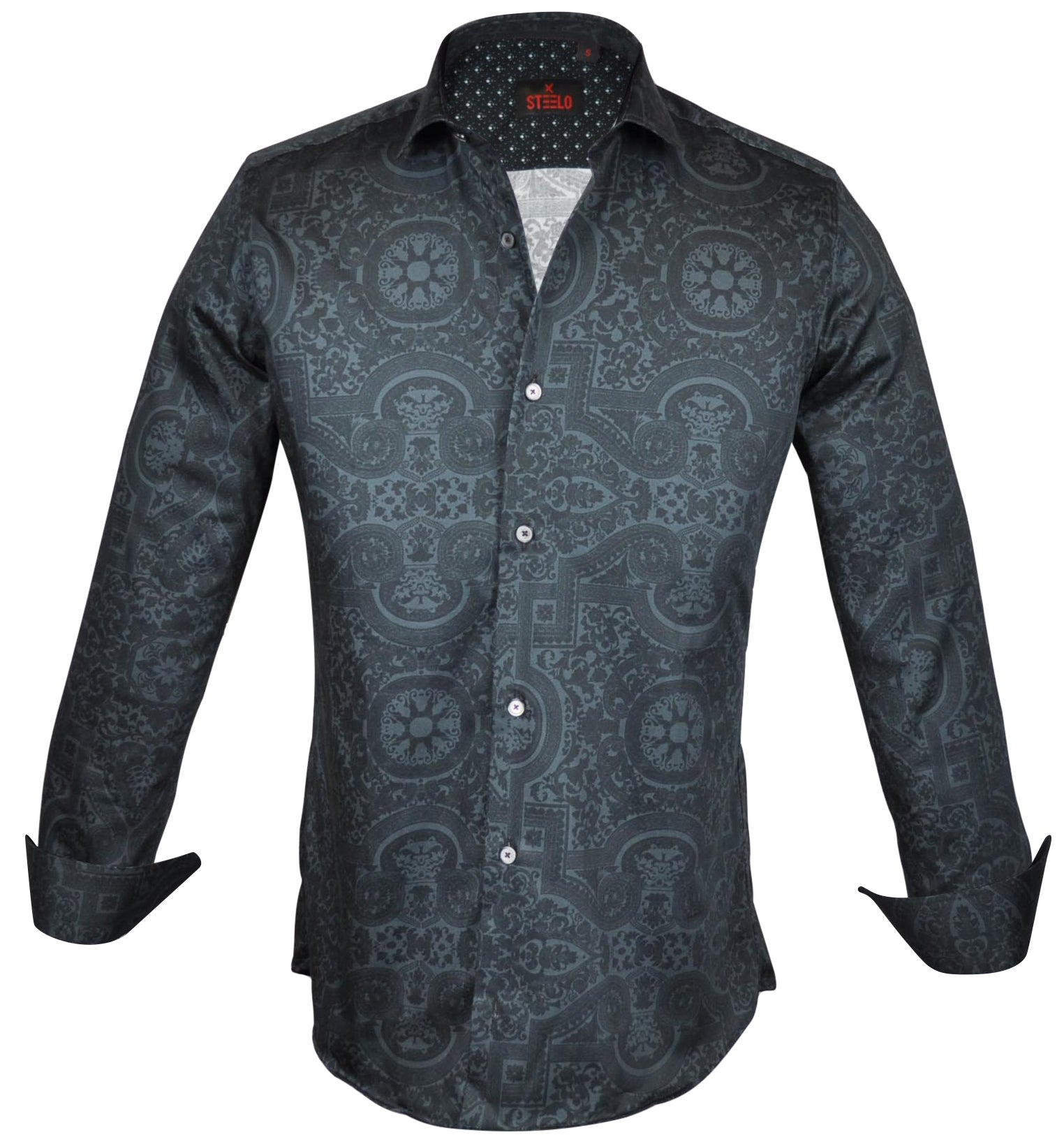 Steelo Mens Ls Geometric Design Print Button Down Shirt S838