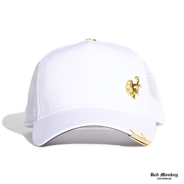dd5e2af5787 Red Monkey Gold Tip White 2019 Trucker Hat