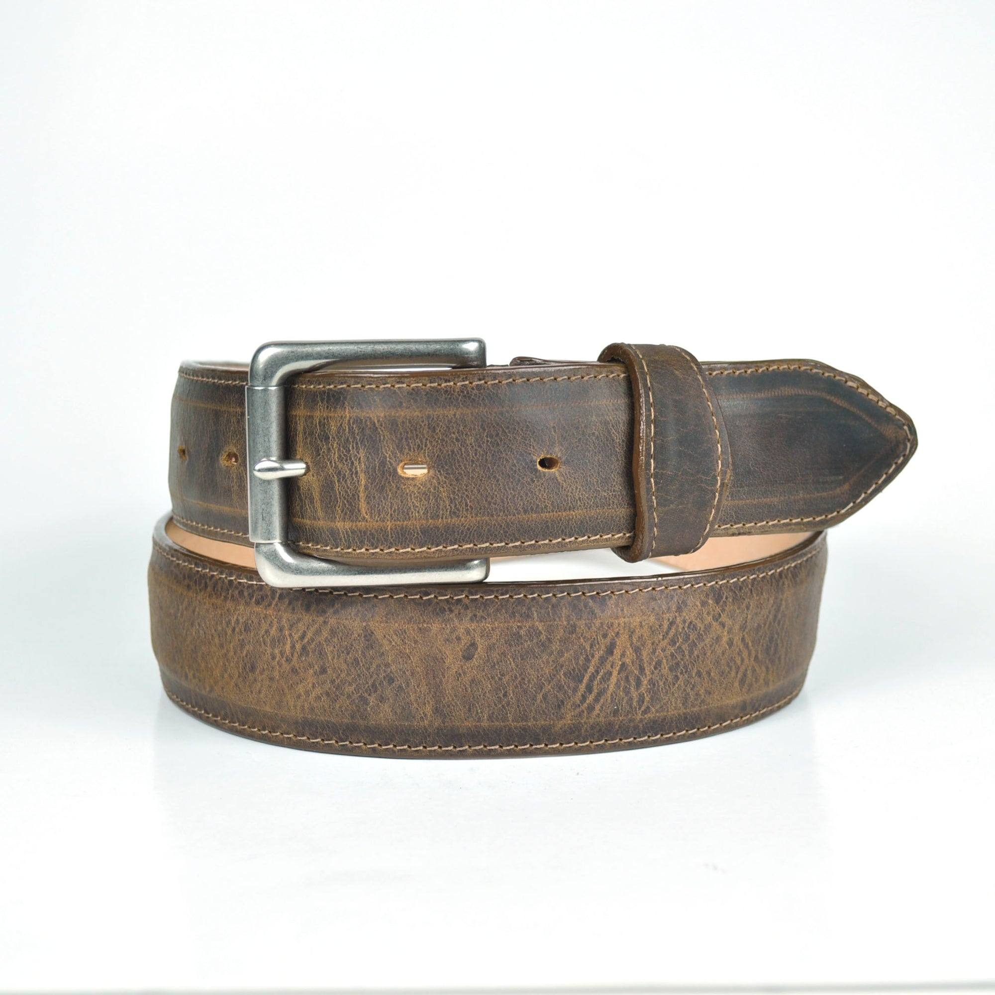 Gavel Men's Crazy Horse Leather Casual Belt - Encino Bronze