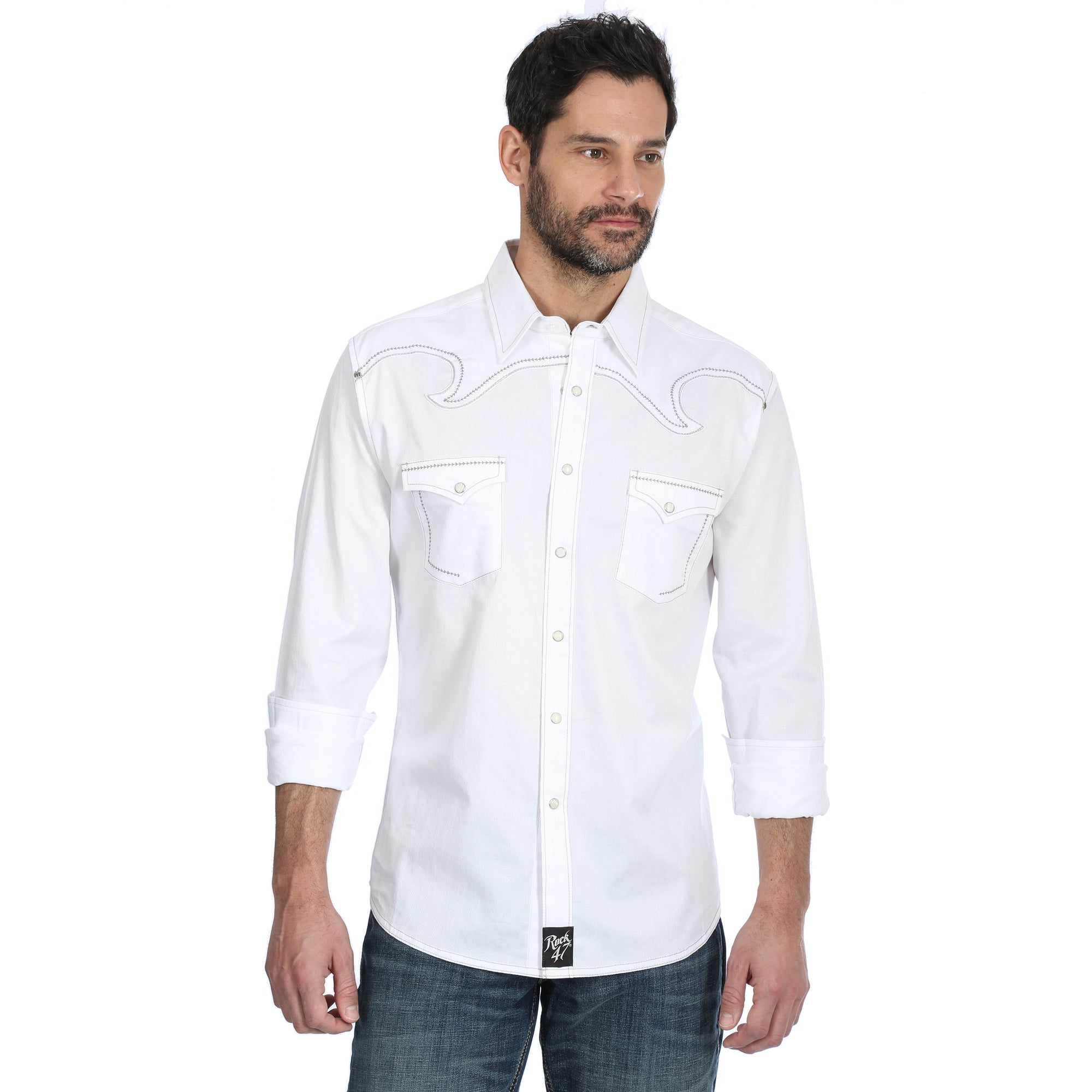 ROCK 47 by Wrangler Men's Snap Shirt MRC776W