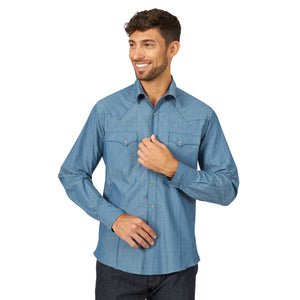 Wrangler Men's Fashion Western Snap Shirt Grey Blue