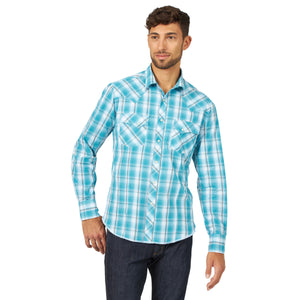 Wrangler Men's Fashion Snap Western Shirt Turquoise
