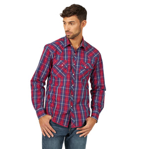 Wrangler Men's Fashion Snap Western Shirt Red/Navy