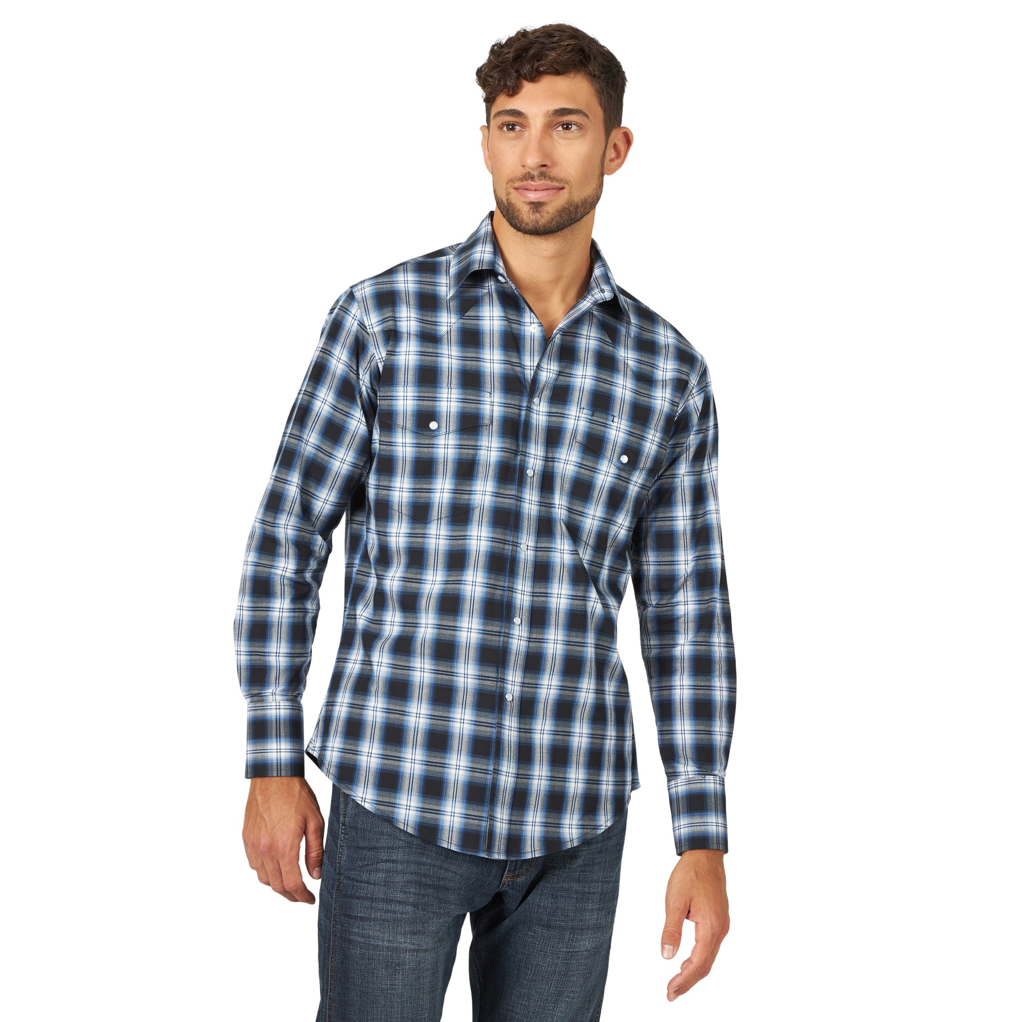Wrangler Men's Wrinkle Resist Western Shirt Blue/Black
