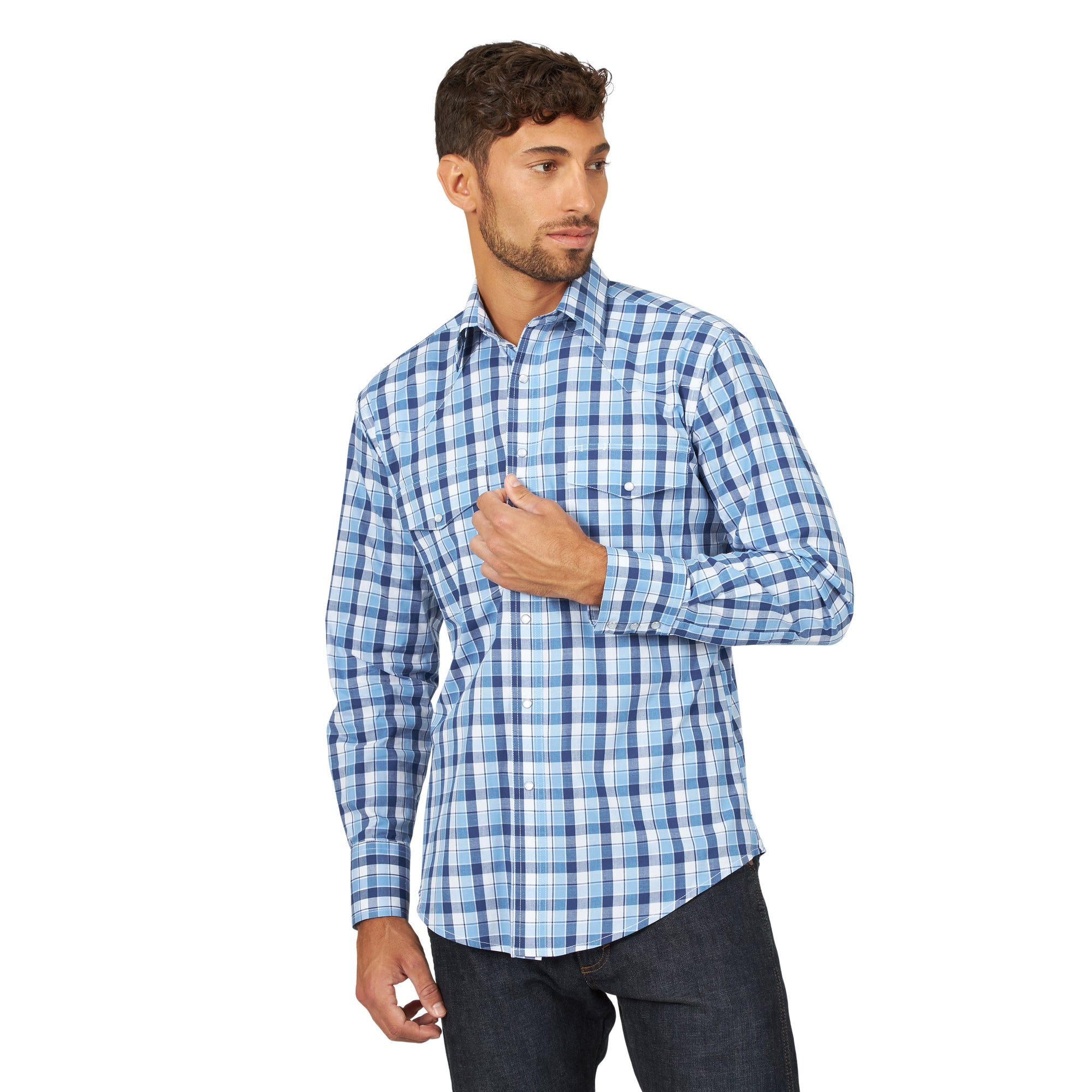 Wrangler Men's Wrinkle Resist Western Shirt Blue/White