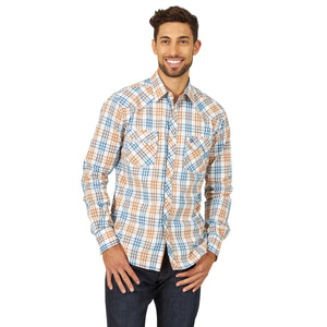 Wrangler Men's Retro Western Shirt Blue/Brown