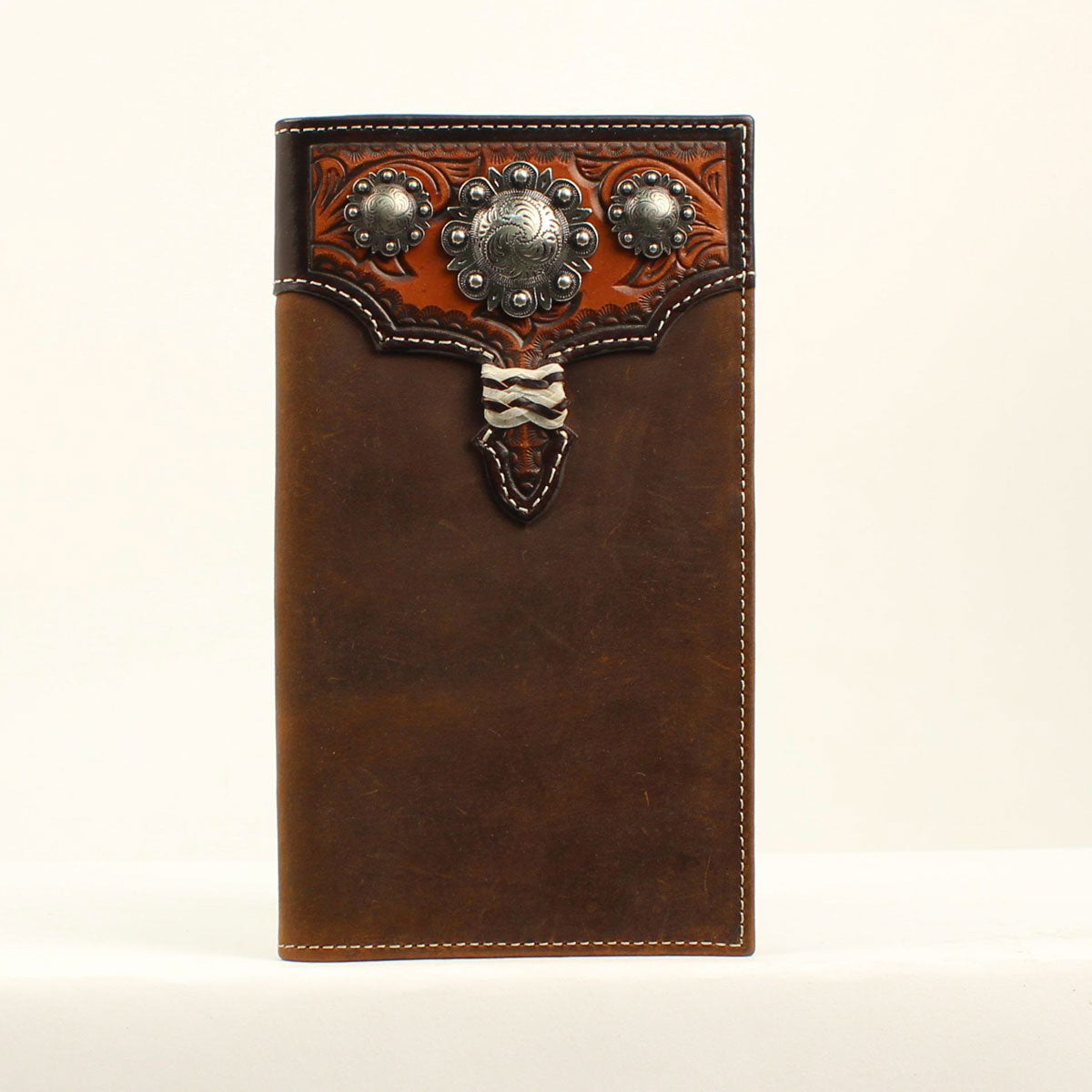 Nocona Silver Concho w/ Rawhide Knot Rodeo Leather Wallet