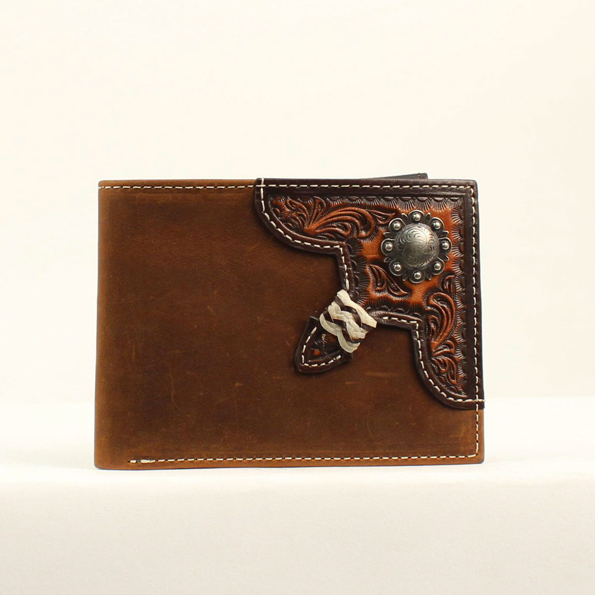 Nocona Silver Concho w/Rawhide Knot Brown Bifold Wallet