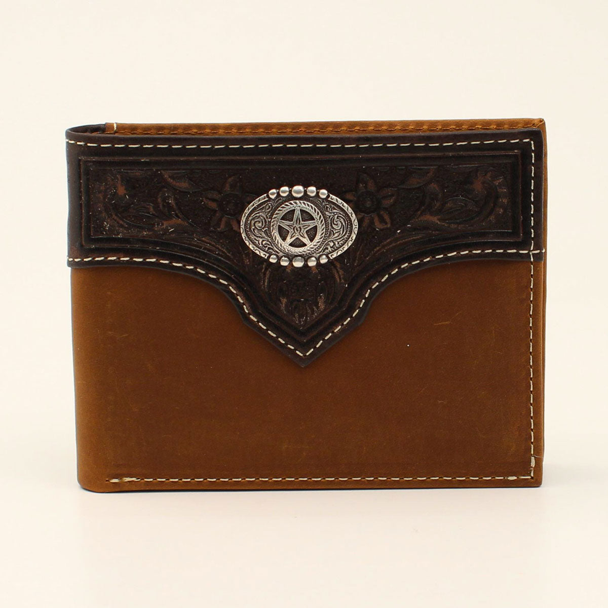 Nocona Embossed Overlay Star Concho Bifold Brown Leather Wallet