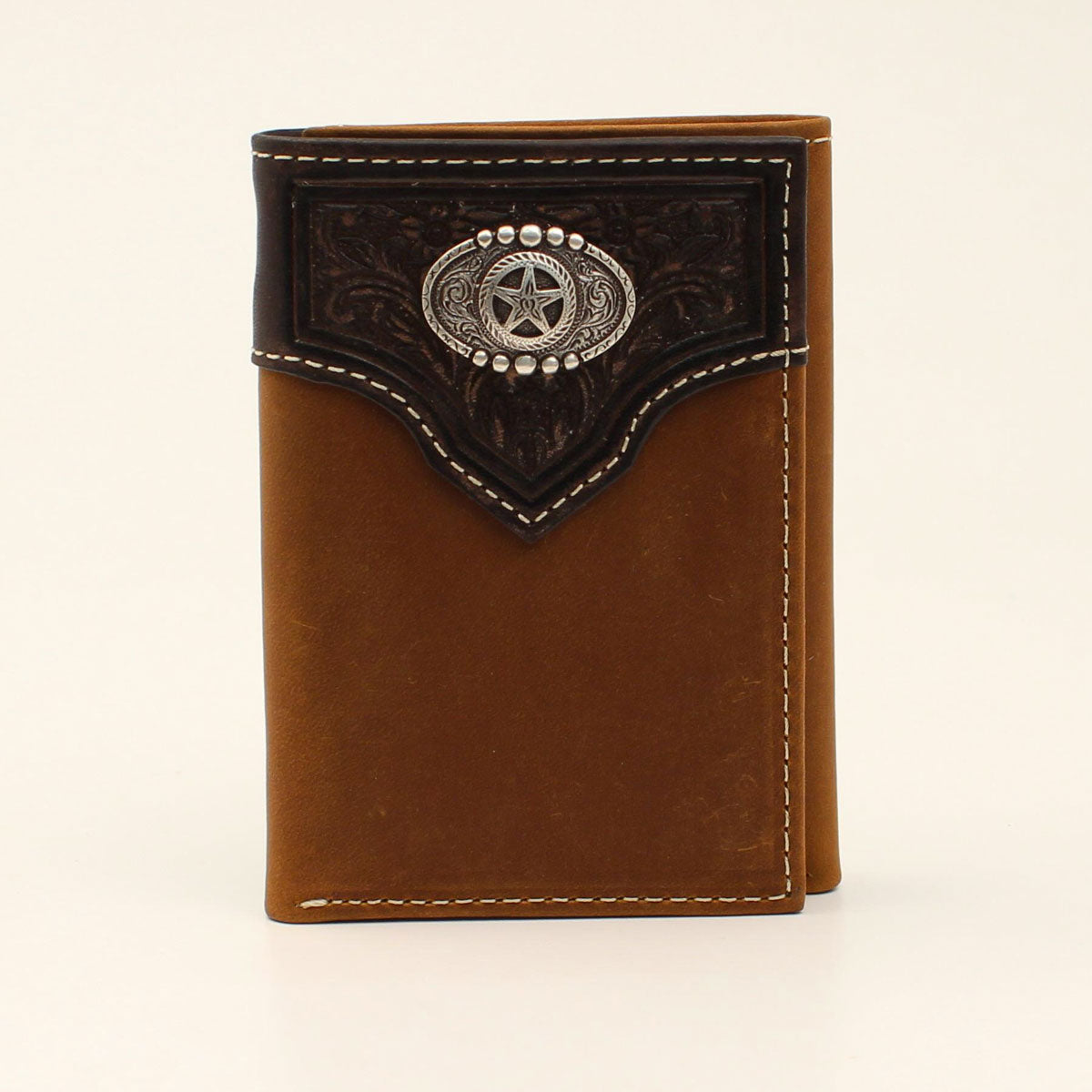 Nocona Embossed Overlay Star Concho Trifold Brown Leather Wallet