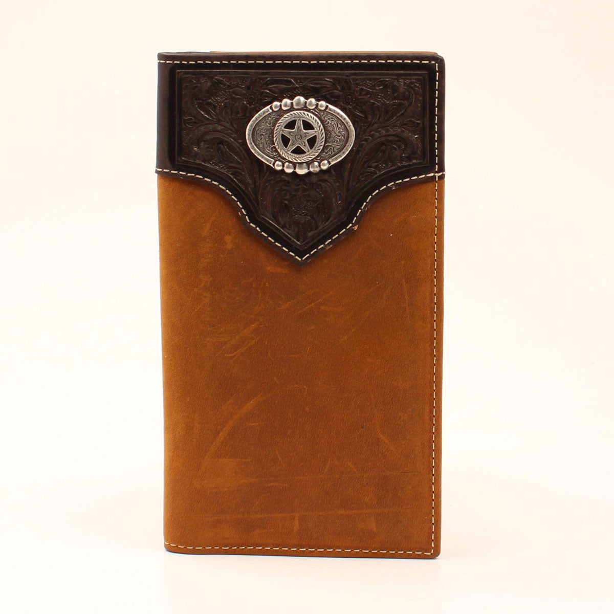 Nocona Embossed Overlay Star Concho Rodeo Brown Leather Wallet