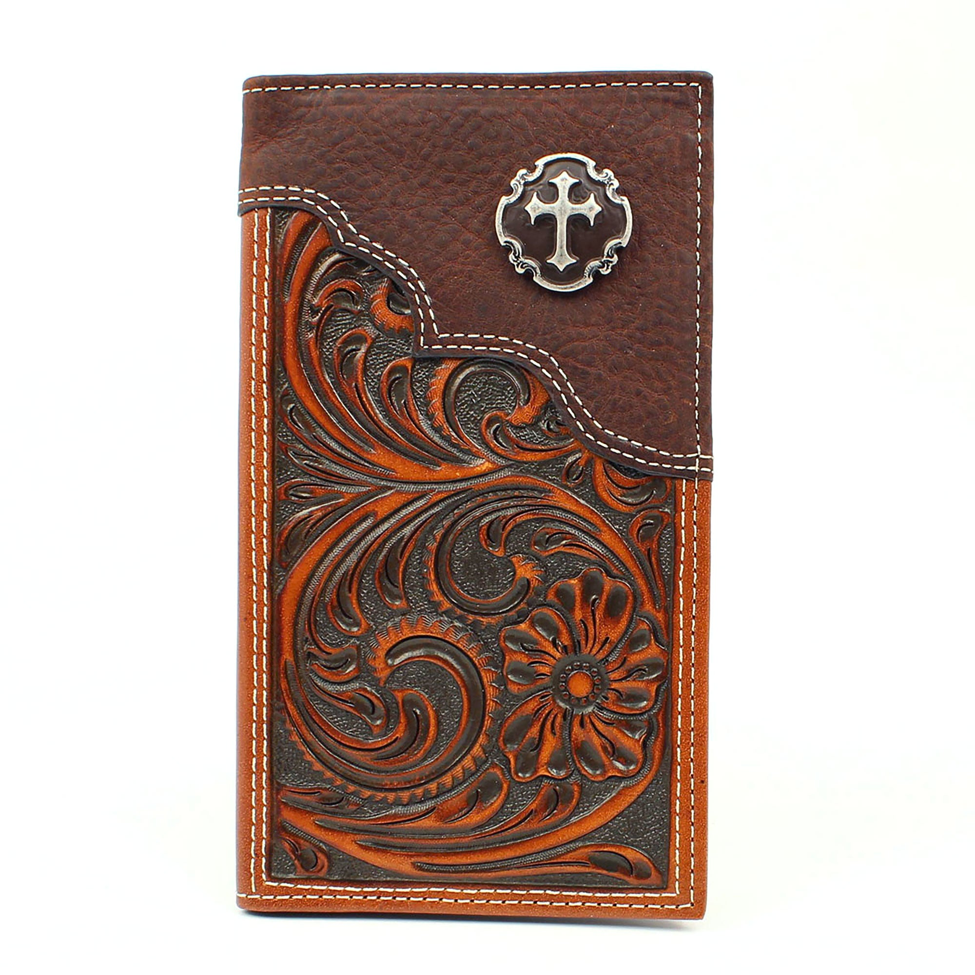 Nocona Floral Embossed Cross Concho Tan Leather Rodeo Wallet